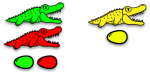 Colourful alligators with colourful eggs